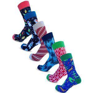6 Pack Christmas Crew Heigh Dress Socks Winter B1509 New NWB
